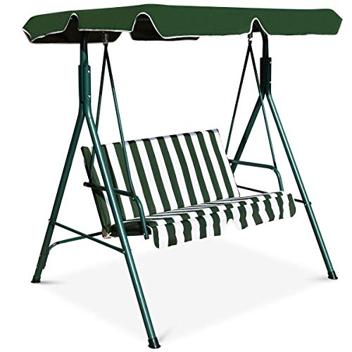 Tangkula 2-Person Patio Swing, Outdoor Yard Swing with Canopy & Cushion, Weather Resistant Steel Lounge Swing Chair for Porch, Backyard, Garden, Balcony (Green)
