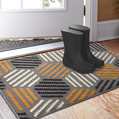 Color&Geometry Indoor Doormat, Indoor Outdoor 24'x36' Mat Waterproof, Non Slip Washable Quickly Absorb Moisture and Resist Dirt Rugs for Entrance