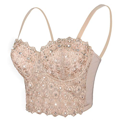 ELLACCI Women's Natural Reigning Lace Rhinestone Bustier Crop Top Sexy Mesh Corset Top Bra Large Brown