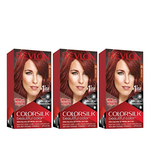 Revlon Colorsilk Beautiful Color, Permanent Hair Dye with Keratin, 100% Gray Coverage, Ammonia Free, 35 Vibrant Red (Pack of 3)