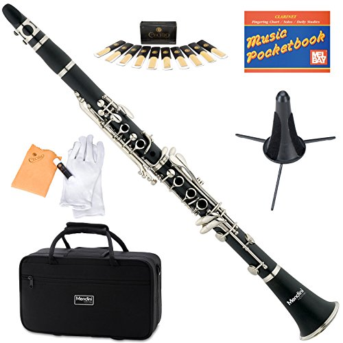 Mendini MCT-E+SD+PB Black B Flat Clarinet with Case, Stand, Pocketbook, Mouthpiece, 10 Reeds and More