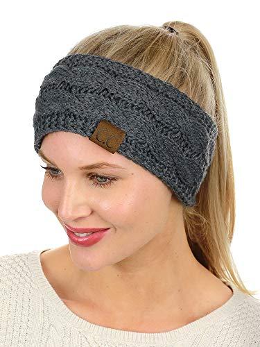 C.C Soft Stretch Winter Warm Cable Knit Fuzzy Lined Ear Warmer Headband, Dark Melange Gray