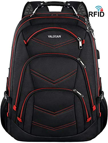18.4 Inch Laptop Backpack,Extra Large Travel Gaming Laptop Backpacks With USB Charging Port,TSA Friendly Flight Approved RFID Anti theft,Water Resistant Men College Bookbag School Student Computer Bag