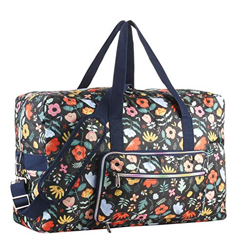 Travel Foldable Waterproof Duffel Bag - Lightweight Carry Storage Luggage Tote Duffel Bag(Black Floral)