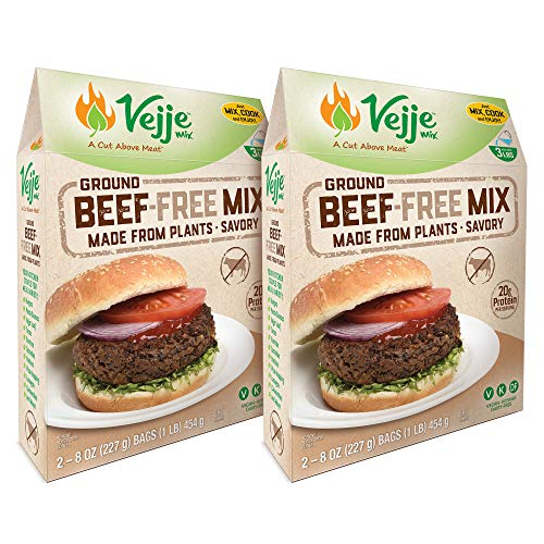 Vejje Meat-Free Mixes (GROUND BEEF-FREE MIX) (2-Pack) (Makes 6 Pounds)