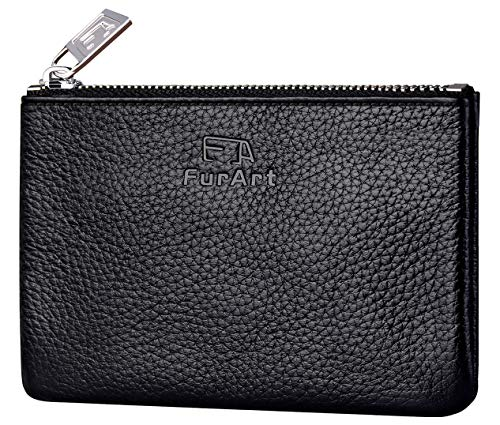 FurArt Genuine Leather Coin Purse,Change Purse With Zipper,Soft Leather Coin Pouch Mini Size