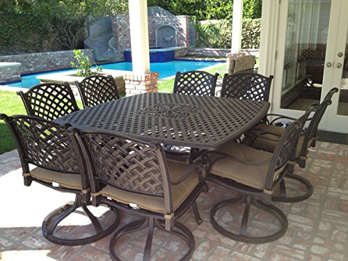 Nassau Cast Aluminum Powder Coated 9pc Outdoor Patio Dining Set with 64'x64' Square Table - Antique Bronze