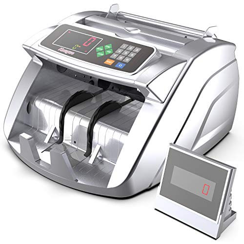 Money Counter Machine with UV/MG/IR/MT, Kaegue Bill Currency Counter Machine, Cash Counting Machine with 6 Modes, 1,000 Notes Per Minute, 2 Years Warranty (Silver)