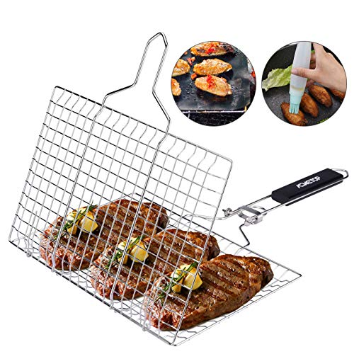 ACMETOP BBQ Grill Basket, Stainless Steel Grilling Basket with Removable Handle, Perfect for Grilling Vegetables, Fishes, Shrimp, Chops - Bonus an Grill Mat, Sauce Bottle Brush and Carrying Pouch