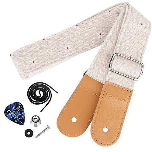 Dulphee Ukulele Strap with 1 Pick & 1 Button, Cotton Linen Adjustable Daisy Uke Shoulder Strap for Soprano Concert Tenor Baritone Ukulele, Banjo and Mandolin (Daisy)