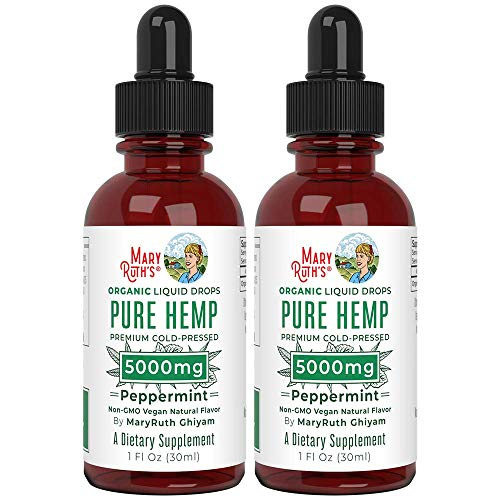(2 Pack) Organic Pure Hemp Oil Extract 5000mg by Nutritional Consultant & Top Chef MaryRuth for Pain & Stress Relief - Powerful for Ingestible & Topical Use - Non-GMO - Peppermint - 1 oz