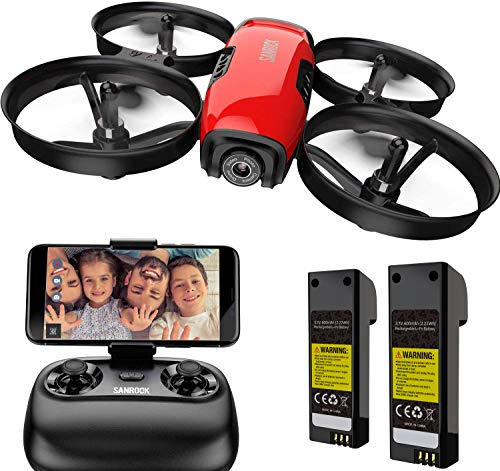 SANROCK U61W Drone for Kids with Camera, RC Quadcopter with 720P HD WiFi FPV Camera, Support Altitude Hold, Route Making, Headless Mode, One-Key Start, Emergency Stop, Great Gift for Boys Girls
