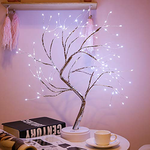 Abollria Christmas Lantern, Copper Wire lamp, Bedside Decoration lamp, Tree Light Touch Switch, Pearl Starry Night Light, for Christmas Decoration or Gift … (White)