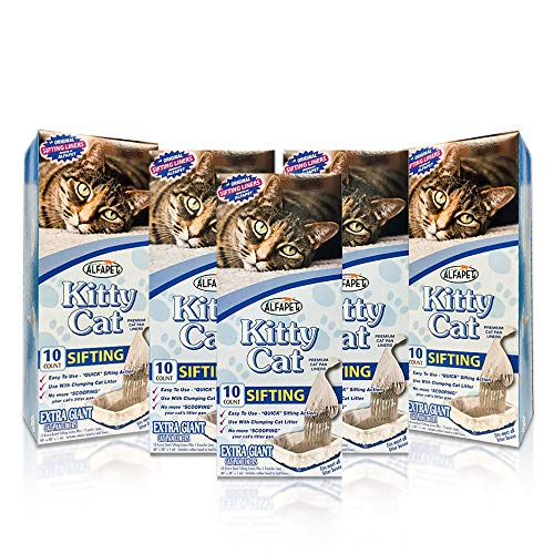 Alfapet Kitty Cat Pan Disposable, Sifting Liners- 10-Pack + 1 Transfer Liner-for Large, X-Large, Giant, Extra-Giant Size Litter Boxes-Included Rubber Band for Firm, Easy Fit - Pack of 5