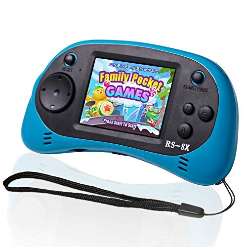 LIVKIDS Kids Portable Game Player, RS-8X 16 Bit HD Handheld Game Console Built-in 42 Classic Games 2.5 Inch Retro Video Games Console (Blue)