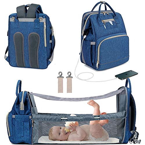 3 in 1 Travel Bassinet Foldable Baby Bed, Diaper Bag Backpack Changing Station, Waterproof, USB Charging Port, Baby Bag Portable Crib, Blue (Bule)