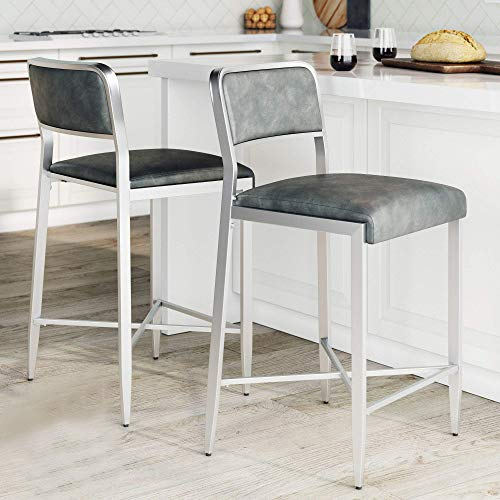 Nathan James Kira Counter Bar Stool Set of 2 Leather Cushion Metal Frame, 24' with Backrest, Gray/Silver