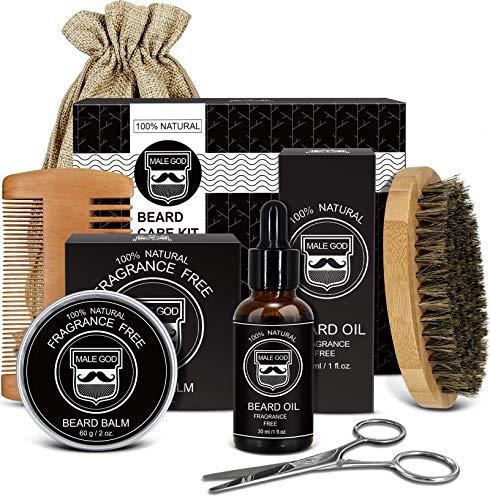 Beard Kit, Beard Growth Kit for Men Gifts, Natural Organic Beard Oil, Beard Balm, Beard Comb, Beard Brush, Beard Scissors, Gift Box, Beard Care Beard Grooming Kit Gifts For Him Dad Husband Boyfriend