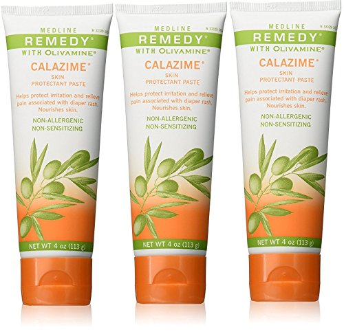 Medline Remedy Olivamine 4 Ounce Calazime Skin Protectant Paste Cream, used with dry chapped skin from diaper rash, incontinence, dermatitis, psoriasis, burns, bites, or rash (Pack of 3)