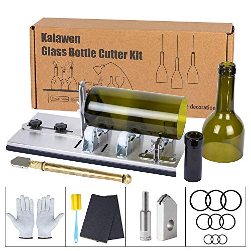 Kalawen Upgrade Glass Bottle Cutter Bottle Cutting DIY Machine for Cutting Wine, Beer, Liquor, Whiskey, Alcohol Round Bottles from Bottom to Neck - Accessories Tool Kit Gloves Fixing Rubber Ring