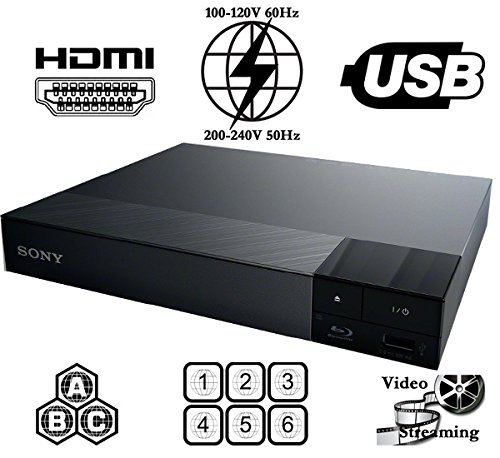 Sony All Region Free Blu Ray A B C and DVD Player, and 6 feet hdmi Cable (Bundle)