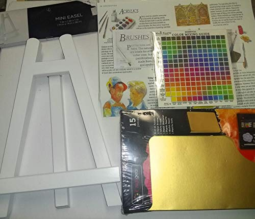 Painting Set with Wood Table Easel, Artist Canvas, Acrylic Color in Tubes, Artist Brushes, Color Mixing Guide, Paint Mix Tray, Acrylic Pad & More