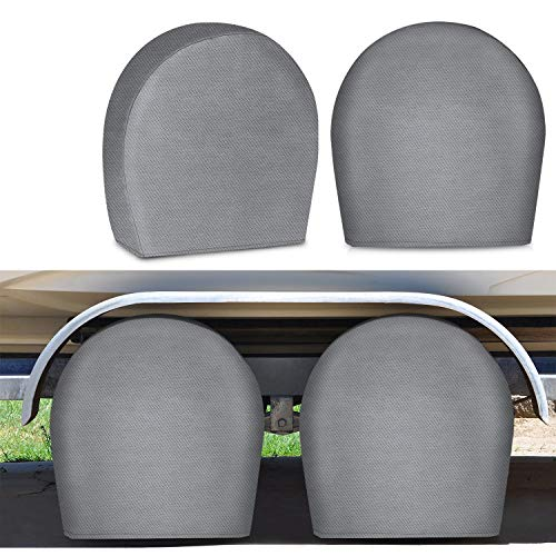 RVMasking RV Tire Covers Set of 4 for Trave Trailer Camper - Upgraded 5-ply Tire Wheel Protectors Fits Tire Diameters 29' - 31.75'