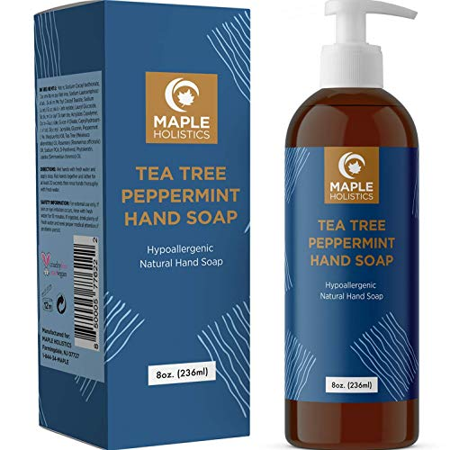 Anti Bacterial Hand Soap Liquid - Natural Moisturizing Hand Soap Antibacterial Hand Wash - Hypoallergenic Antibacterial Hand Soap Pump With Tea Tree Essential Oil Disinfecting Soap Hand Cleaner