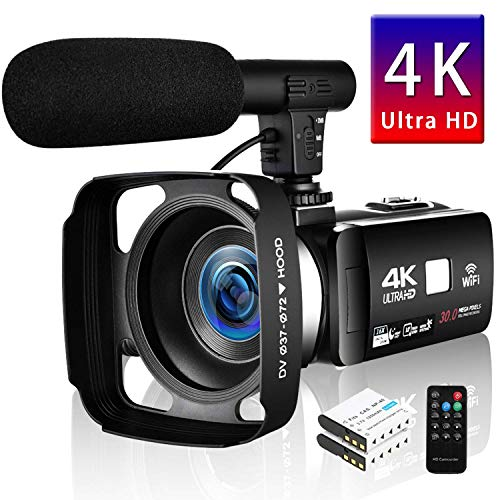 """SEREE Camcorder 4K 30MP WIFI Control Digital Camera 3.0"""" Touch Screen Night Vision Video Camcorder Vlogging Camera with External Microphone"""