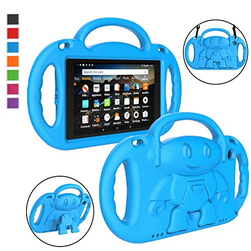 LTROP All-New Fire HD 8 Tablet Case, Fire 8 2018 Case for Kids - Light Weight Shock Proof Handle Friendly Stand Child-Proof Case for Fire 8' HD Display Tablet Bumper Cover (2017&2018 Release) - Blue