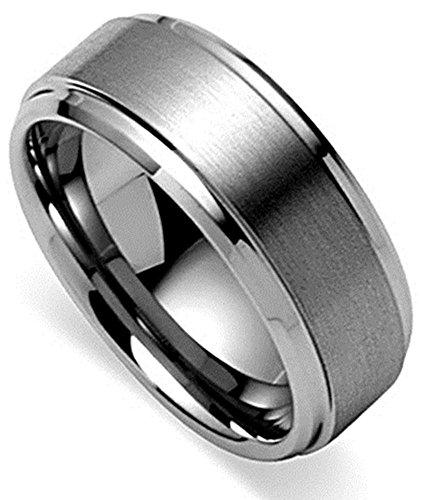 King Will Basic Men's Tungsten Carbide Ring 8mm Polished Beveled Edge Matte Brushed Finish Center Wedding Band(12.5)
