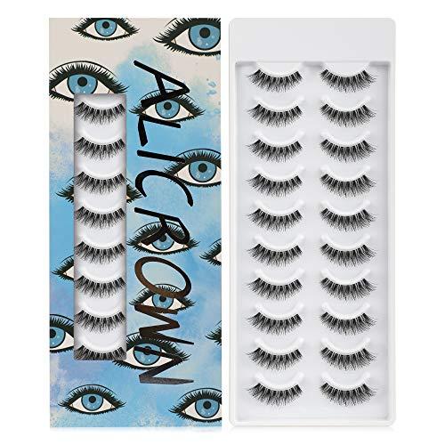 ALICROWN False Eyelashes Natural Lightweight Handmade Lashes-BLUE (10 Pairs)