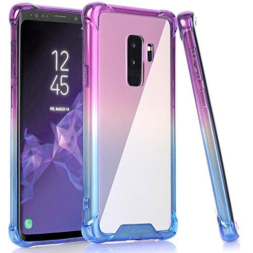 BAISRKE Galaxy S9 Plus Case, Shock Absorption Flexible TPU Soft Edge Bumper Anti-Scratch Rigid Slim Protective Cases Hard Plastic Back Cover for Samsung Galaxy S9+ Plus - Blue Purple Gradient