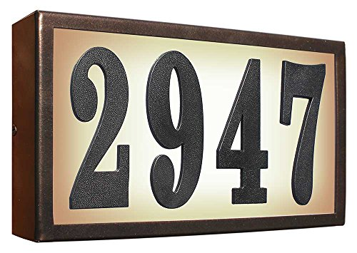 Serrano Lighted Address Plaque SRST-AB60-BRZ Standard Serrano Low Voltage Rust Free Galvanized Steel Rectangular Lighted Address Plaque with 4-Inch Black Polymer Numbers, Bronze