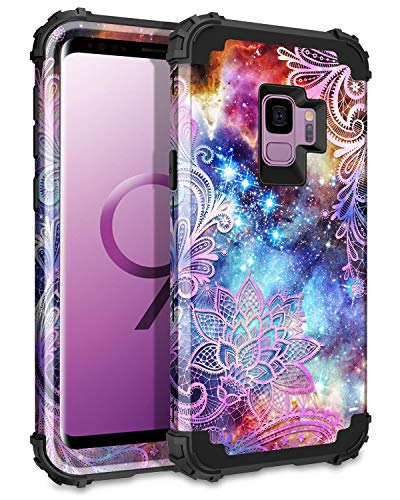 Casetego Compatible Galaxy S9 Case,Floral Three Layer Heavy Duty Hybrid Sturdy Shockproof Full Body Protective Cover Case for Samsung Galaxy S9,Purple Mandala