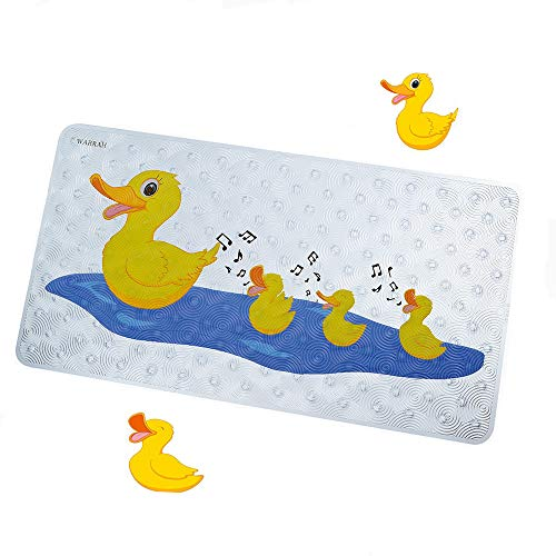 Bath Mats for Tub Kids Non Slip Bathtub Mat for Toddlers Baby Anti Slip Bathroom Floor Mat for Shower Safety,Upgraded Eco-Friendly PVC,27.5 X15.7Inch,Yellow Duck (FHD-07)