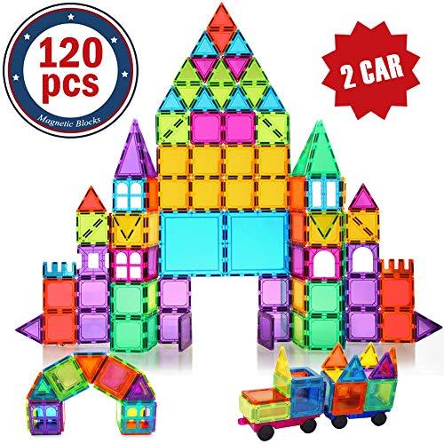 BMAG 120 PCS Magnetic Building Blocks, 3D Magnet Building Tiles, STEM Construction Building Set, Stacking Toys with 2 Car