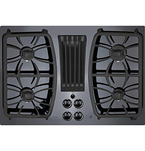 GE Profile Series 30'' Built-in Gas Downdraft Cooktop Black Glass Top PGP9830DJBB