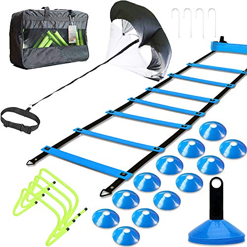 MLCINI Speed Agility Training Set, Includes 1 Resistance Parachute, 1 Agility Ladder, 4 Steel Stakes, 4 Adjustable Hurdles, 12 Disc Cones | Speed Training Equipment for Soccer Football Basketball