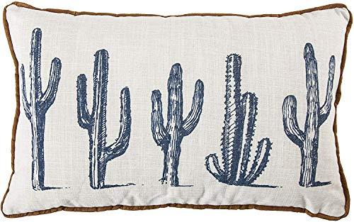 HiEnd Accents 5-Cactus Linen Southwest Decorative Lumbar Throw Pillow, 16' x 26', White & Blue