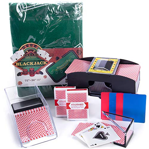 Brybelly All-in-One Blackjack Kit - Black Jack Felt, Dealer Shoe, Discard Tray, Playing Card Shuffler, Cut Cards, and 2 Decks of Cards