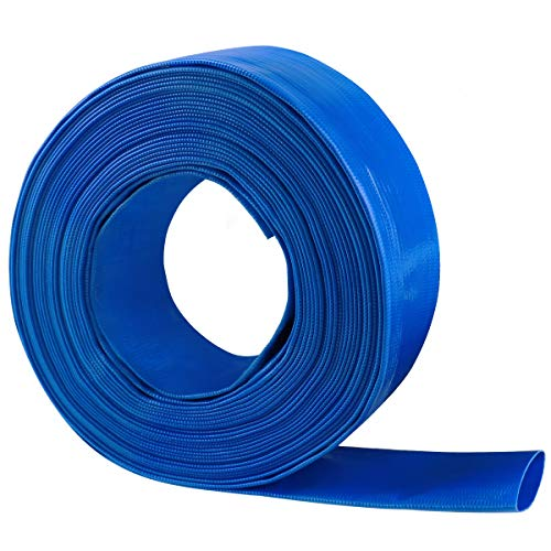 Eastrans 2' x 100 FT Heavy Duty Reinforced PVC Lay Flat Discharge and Backwash Hose for Swimming Pools
