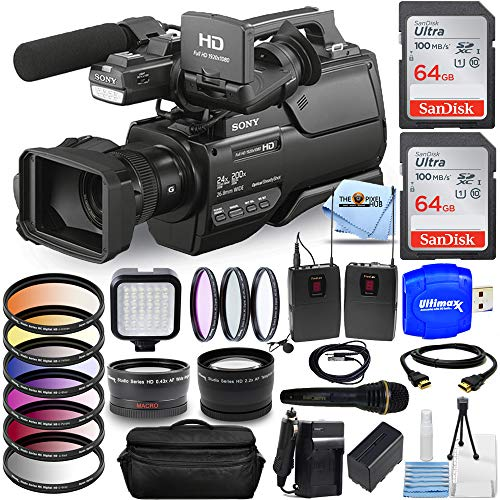 Sony HXR-MC2500E Shoulder Mount AVCHD Camcorder (PAL) All You Need Bundle with Battery and Charger, 2X 64GB (128GB) SD, Mic Set, Telephoto and Wide Angle Lens, Gadget Bag, HDMI Cable and More