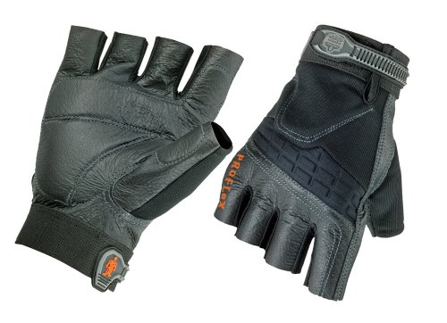 Ergodyne ProFlex 900 Impact-Reducing Half-Fingered Work Gloves, Medium