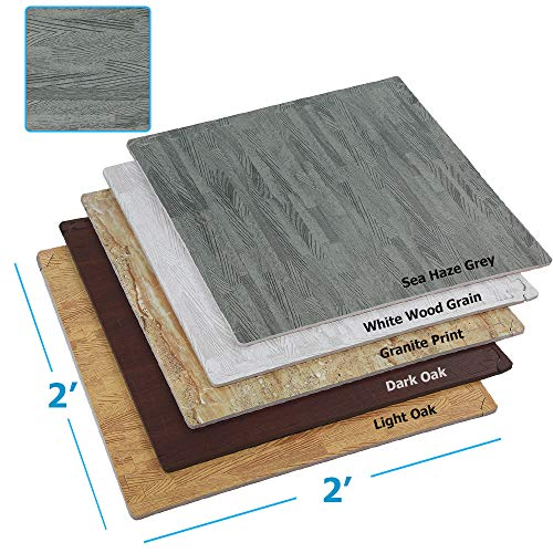 Clevr 100 Sq. Ft (10' x 10') EVA Interlocking Foam Mats Flooring, Grey Sea Haze Wood Grain Style - (24' x 24', 25 pcs) | Includess Tile Borders | 1 Year Limited Warranty | Perfect for Trade Shows an