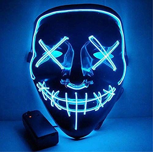 Moonideal Halloween Light Up Mask EL Wire Scary Mask for Halloween Festival Party Sound Induction Twinkling with Music Speed Blue