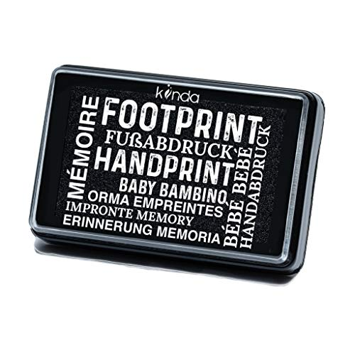 Baby Ink Pad – Handprint & Footprint Newborn Kit – Print Stamps Reusable Feet & Hands Stamps – 100% Non-Toxic, Acid-Free – Smudge-Proof Designs – Ideal Family Memory (Black)
