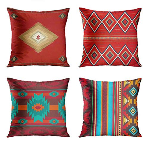 ArtSocket Set of 4 Throw Pillow Covers South Southwest Western Tribal Red Native Home Cultural Geometric Hue Country Decorative Pillow Cases Home Decor Square 18x18 Inches Pillowcases