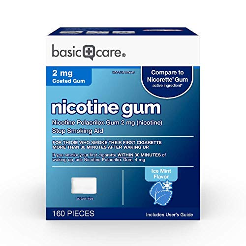 Basic Care Coated Nicotine Polacrilex Gum 2 mg (nicotine), Ice Mint Flavor, Stop Smoking Aid, 160 Count
