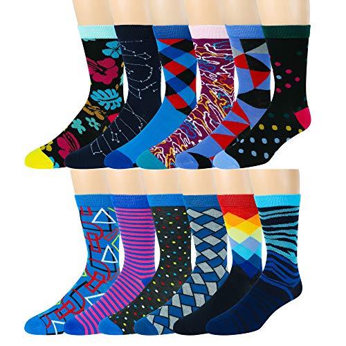 Boy's Pattern Dress Funky Fun Colorful Socks 12 Assorted Patterns Size 3-9 (Style M, Shoe Size 3-9)